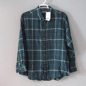 NWT David Taylor Green Black White Flannel Shirt